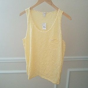 Yellow and white striped tank top